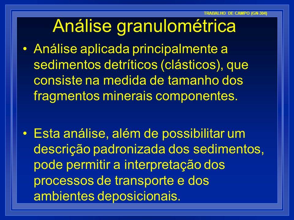 Análise granulométrica Análise aplicada principalmente a sedimentos detríticos (clásticos), que consiste na medida de tamanho dos fragmentos minerais