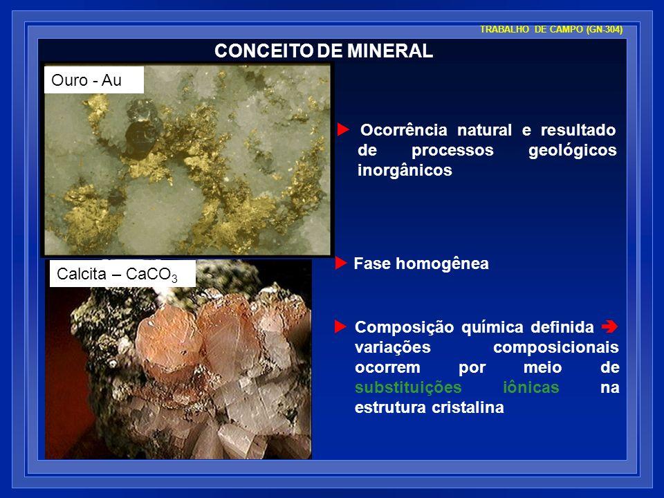 TRABALHO DE CAMPO (GN-304) CONCEITO DE MINERAL Ocorrência natural e resultado de processos geológicos inorgânicos Fase homogênea Composição química de