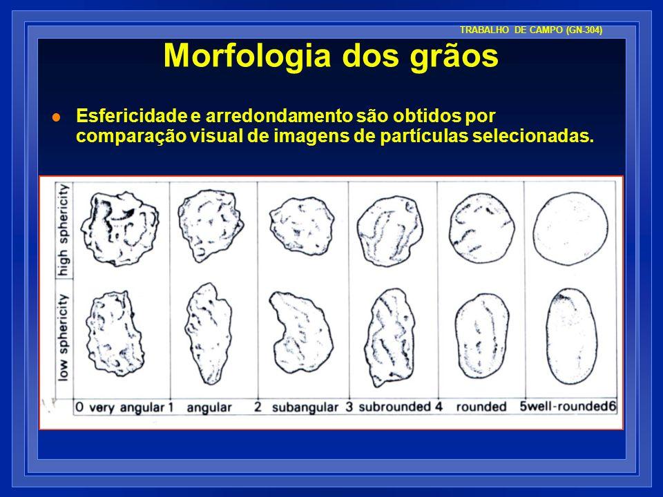 Morfologia dos grãos l Esfericidade e arredondamento são obtidos por comparação visual de imagens de partículas selecionadas. TRABALHO DE CAMPO (GN-30