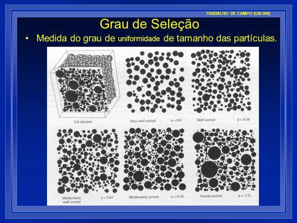 Grau de Seleção Medida do grau de uniformidade de tamanho das partículas. TRABALHO DE CAMPO (GN-304)