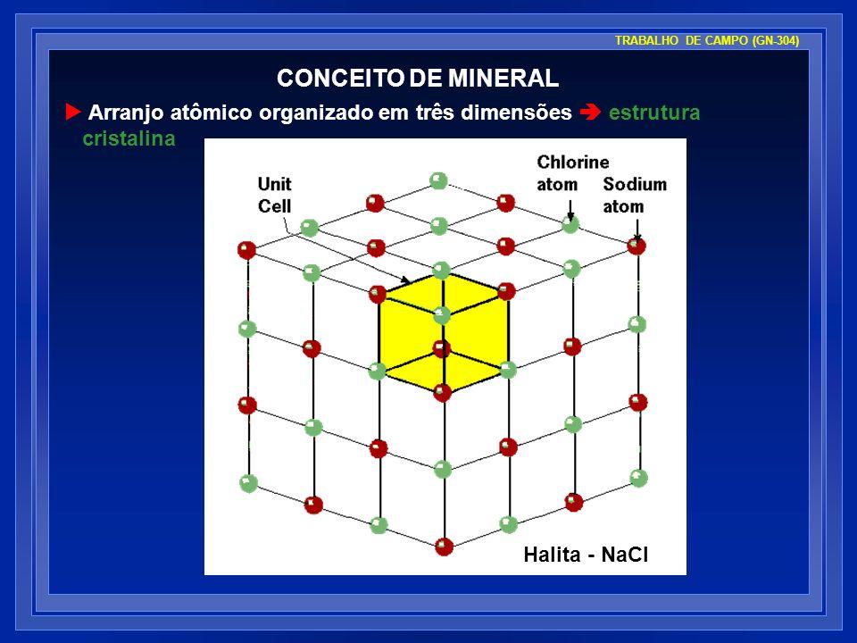 CONCEITO DE MINERAL Arranjo atômico organizado em três dimensões estrutura cristalina TRABALHO DE CAMPO (GN-304) Halita - NaCl