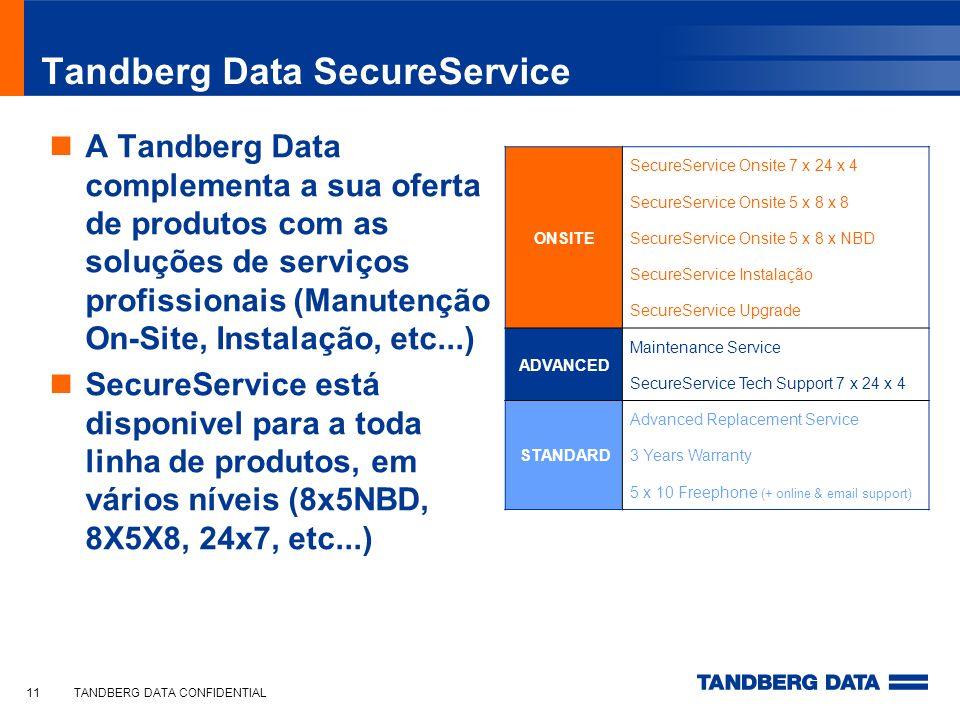 TANDBERG DATA CONFIDENTIAL11 Tandberg Data SecureService A Tandberg Data complementa a sua oferta de produtos com as soluções de serviços profissionai