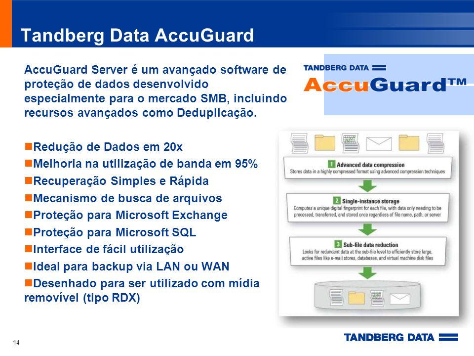 Tandberg Data AccuGuard AccuGuard Server é um avançado software de proteção de dados desenvolvido especialmente para o mercado SMB, incluindo recursos