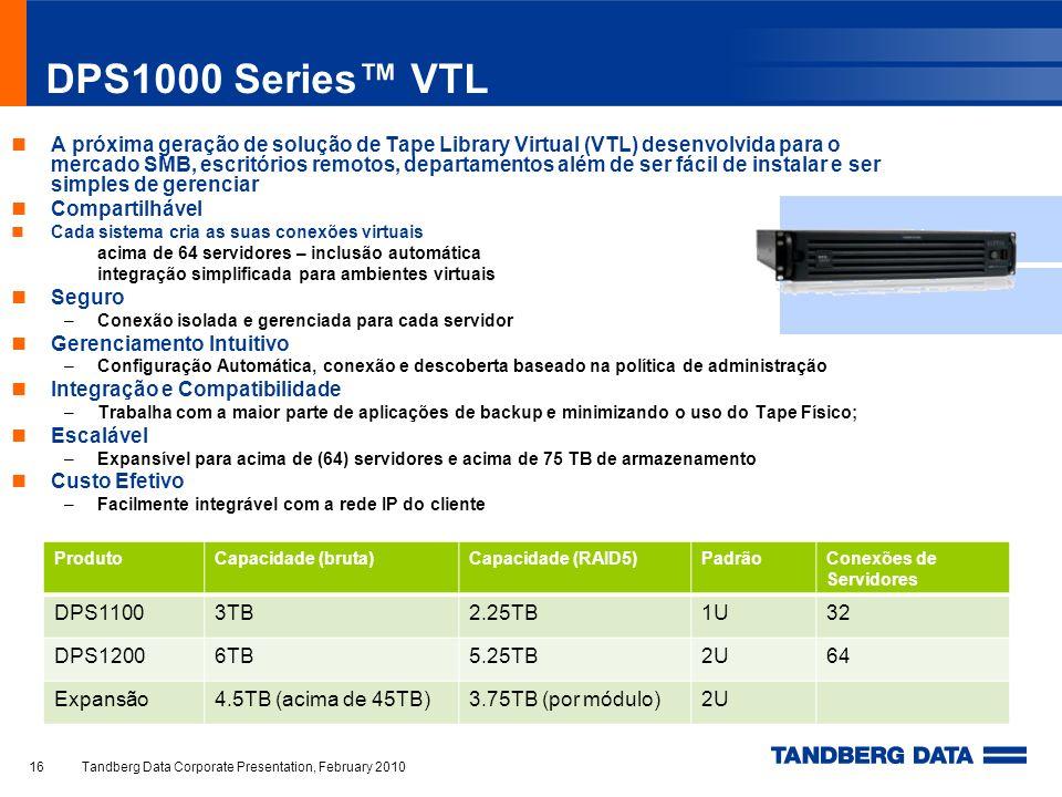 DPS1000 Series VTL A próxima geração de solução de Tape Library Virtual (VTL) desenvolvida para o mercado SMB, escritórios remotos, departamentos além