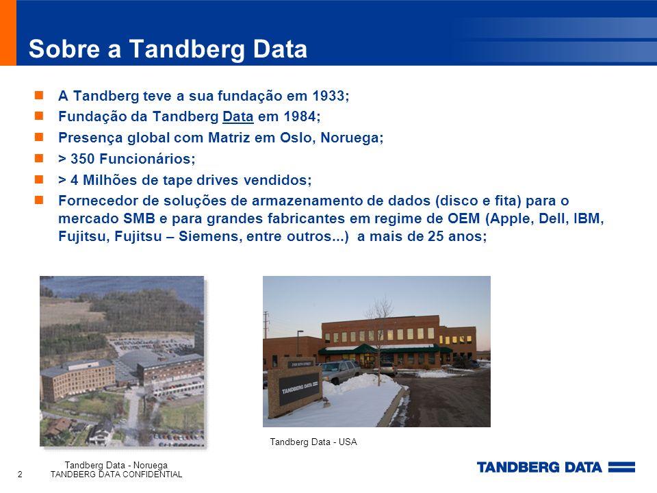 TANDBERG DATA CONFIDENTIAL2 Sobre a Tandberg Data A Tandberg teve a sua fundação em 1933; Fundação da Tandberg Data em 1984; Presença global com Matri