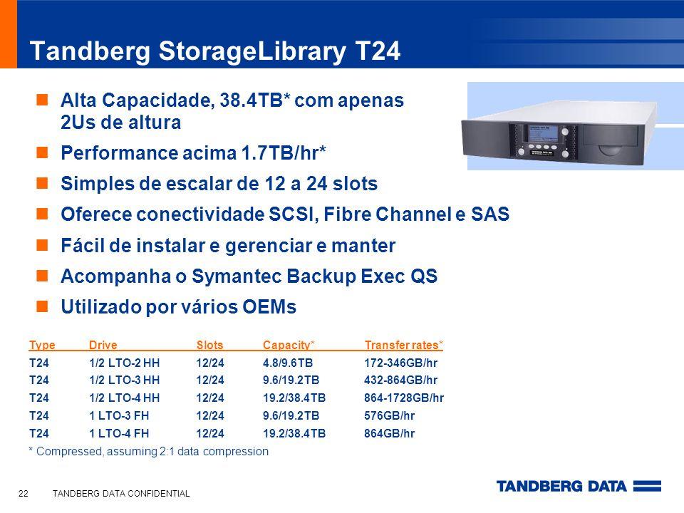 TANDBERG DATA CONFIDENTIAL22 Tandberg StorageLibrary T24 Alta Capacidade, 38.4TB* com apenas 2Us de altura Performance acima 1.7TB/hr* Simples de esca