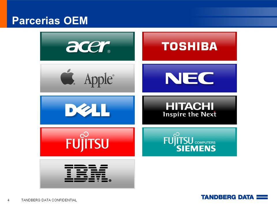 Tandberg Data RDX QuikStor O Melhor do Disco e do Tape Performance de disco rígido – > de 45MB/s - 162GB/hr Manuseio como um sistema de Backup em Fita; Opções de capacidade: 80, 160, 320, 500 ou 640 GB; Design do cartucho a Prova de Choque (quedas); Compatibilidade total para frente e para trás; Tempo de arquivamento de mais de 10 Anos; Instalação Plug´n´Play; Opção de Backup Copia e Cola ; Acompanha o software AccuGuard para um backup e restauração com deduplicação; Tandberg Data Corporate Presentation, February 201015
