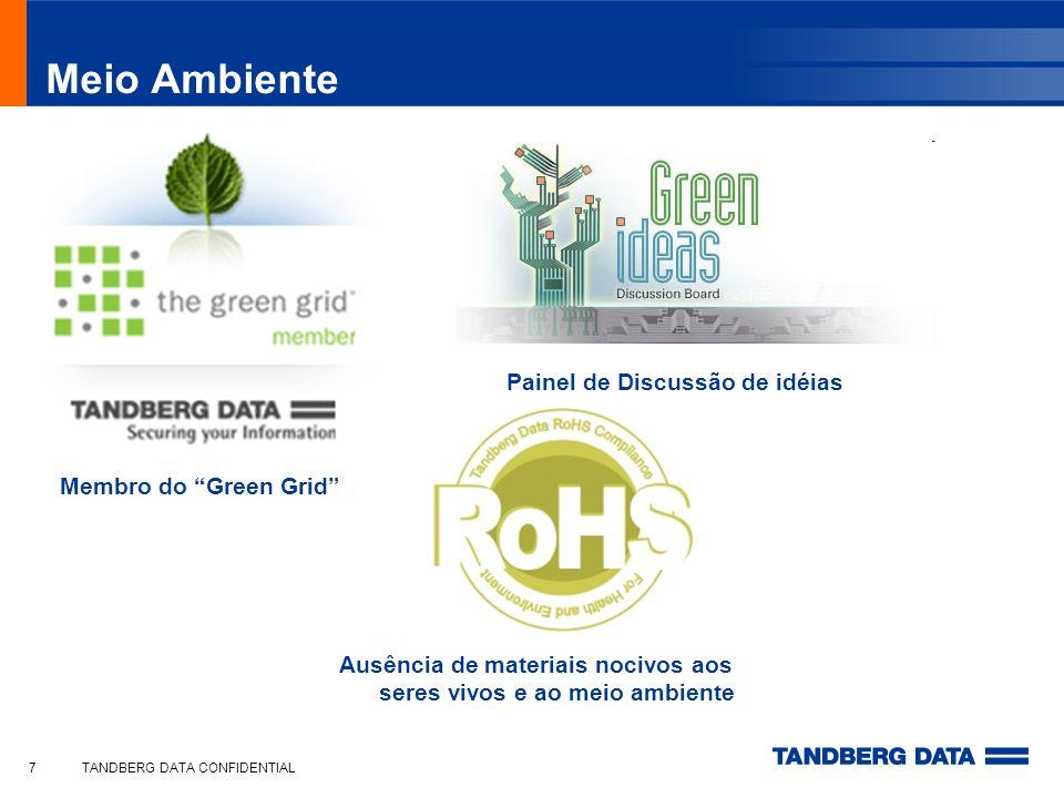TANDBERG DATA CONFIDENTIAL7 Meio Ambiente Membro do Green Grid Painel de Discussão de idéias Ausência de materiais nocivos aos seres vivos e ao meio a