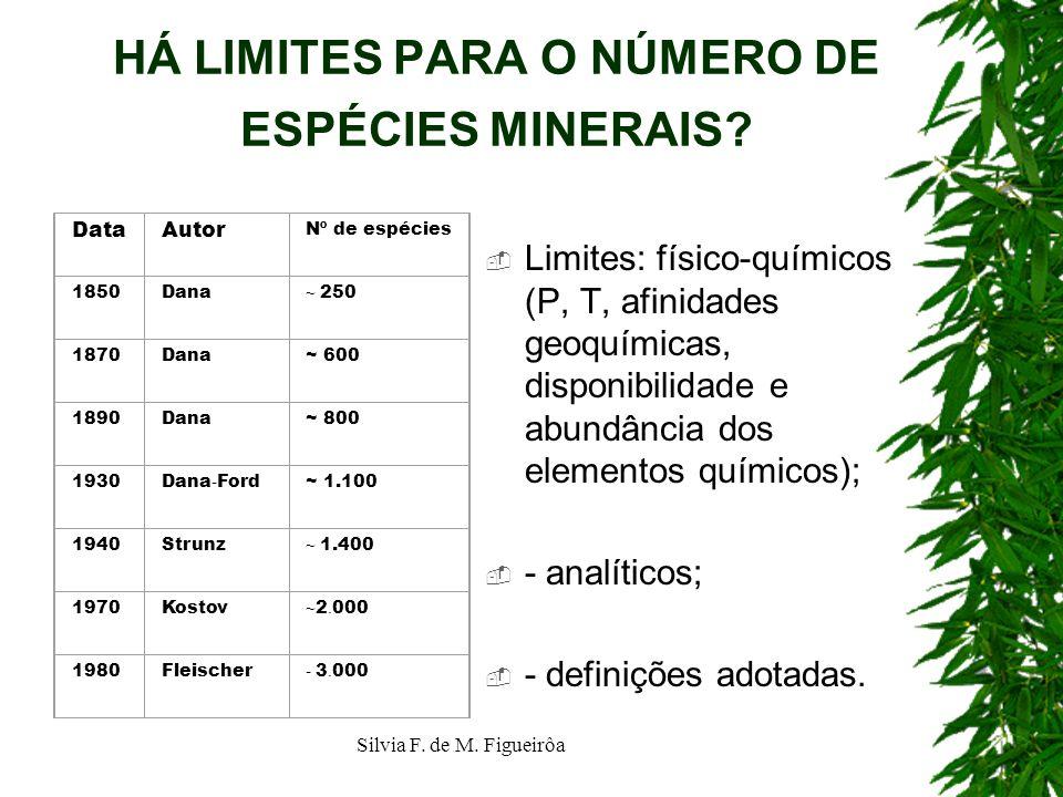 Silvia F. de M. Figueirôa HÁ LIMITES PARA O NÚMERO DE ESPÉCIES MINERAIS? Limites: físico-químicos (P, T, afinidades geoquímicas, disponibilidade e abu