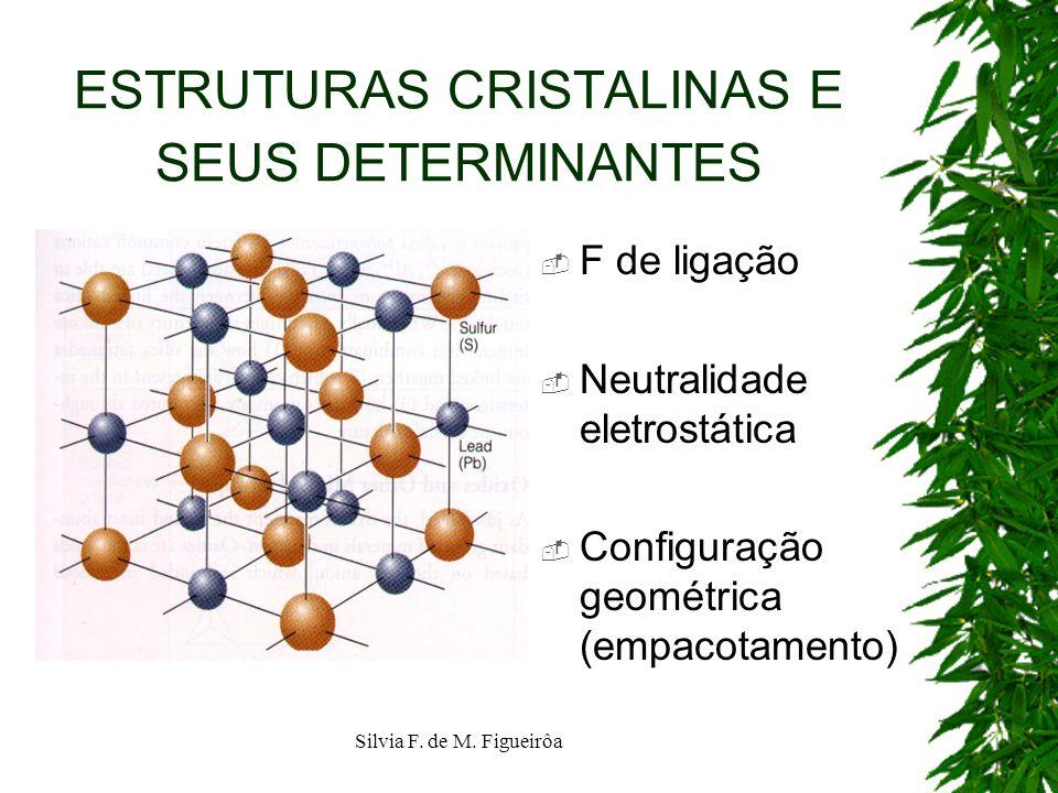 Silvia F. de M. Figueirôa ESTRUTURAS CRISTALINAS E SEUS DETERMINANTES F de ligação Neutralidade eletrostática Configuração geométrica (empacotamento)