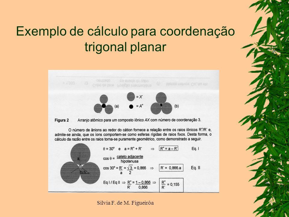 Silvia F. de M. Figueirôa Exemplo de cálculo para coordenação trigonal planar