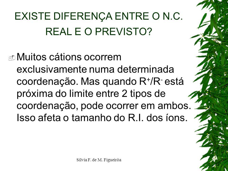Silvia F. de M. Figueirôa EXISTE DIFERENÇA ENTRE O N.C. REAL E O PREVISTO? Muitos cátions ocorrem exclusivamente numa determinada coordenação. Mas qua