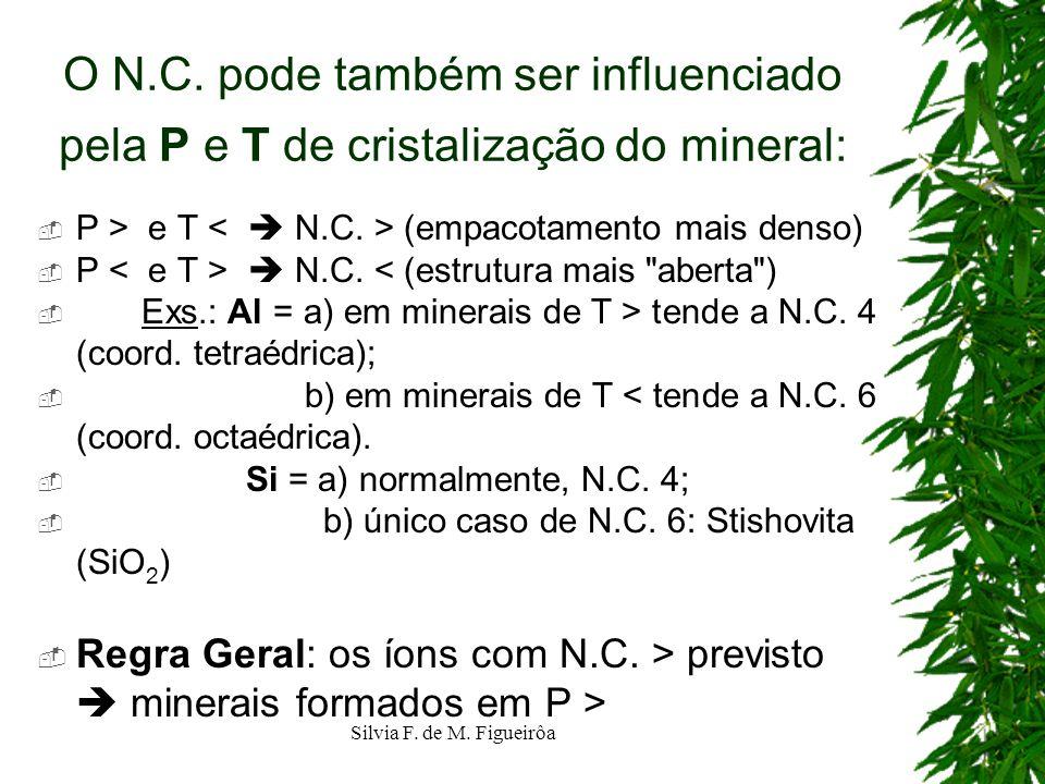 Silvia F. de M. Figueirôa O N.C. pode também ser influenciado pela P e T de cristalização do mineral: P > e T (empacotamento mais denso) P N.C. < (est
