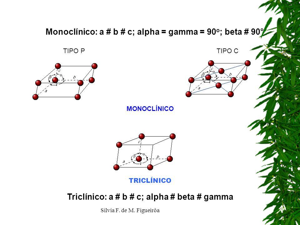 Silvia F. de M. Figueirôa Monoclínico: a # b # c; alpha = gamma = 90 o ; beta # 90° TIPO P TIPO C MONOCLÍNICO Triclínico: a # b # c; alpha # beta # ga