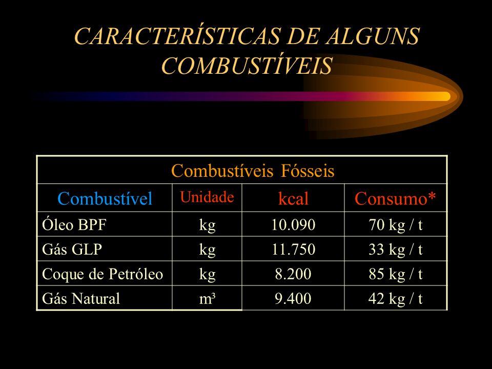 CARACTERÍSTICAS DE ALGUNS COMBUSTÍVEIS 250 kg / t4.300330Casca de Castanha Consumo*kcal / kgkg / m³Combustível 420 kg / t 2.200250Bagaço de Cana 450 k