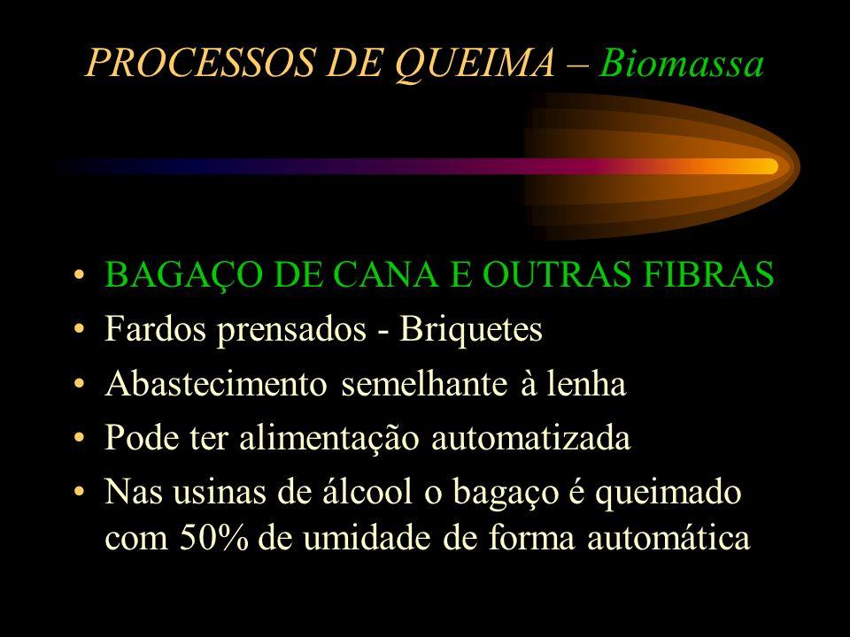 PROCESSOS DE QUEIMA – Biomassa SERRAGEM,CAVACO, CASCAS Estocagem em silos ou em galpões Secagem, Transporte, Alimentação e Queima Automatizados e Cont