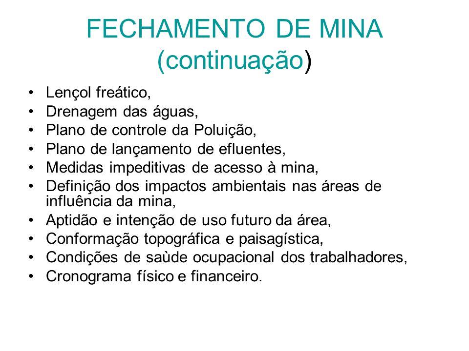 FECHAMENTO DE MINA (continuação) Lençol freático, Drenagem das águas, Plano de controle da Poluição, Plano de lançamento de efluentes, Medidas impedit