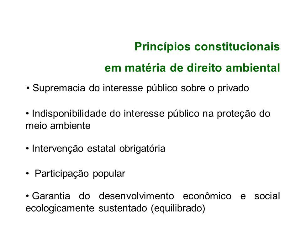 Supremacia do interesse público sobre o privado Indisponibilidade do interesse público na proteção do meio ambiente Intervenção estatal obrigatória Pa