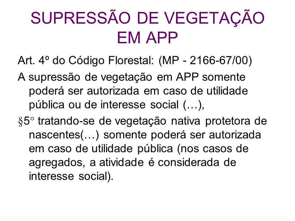 SUPRESSÃO DE VEGETAÇÃO EM APP Art. 4º do Código Florestal: (MP - 2166-67/00) A supressão de vegetação em APP somente poderá ser autorizada em caso de