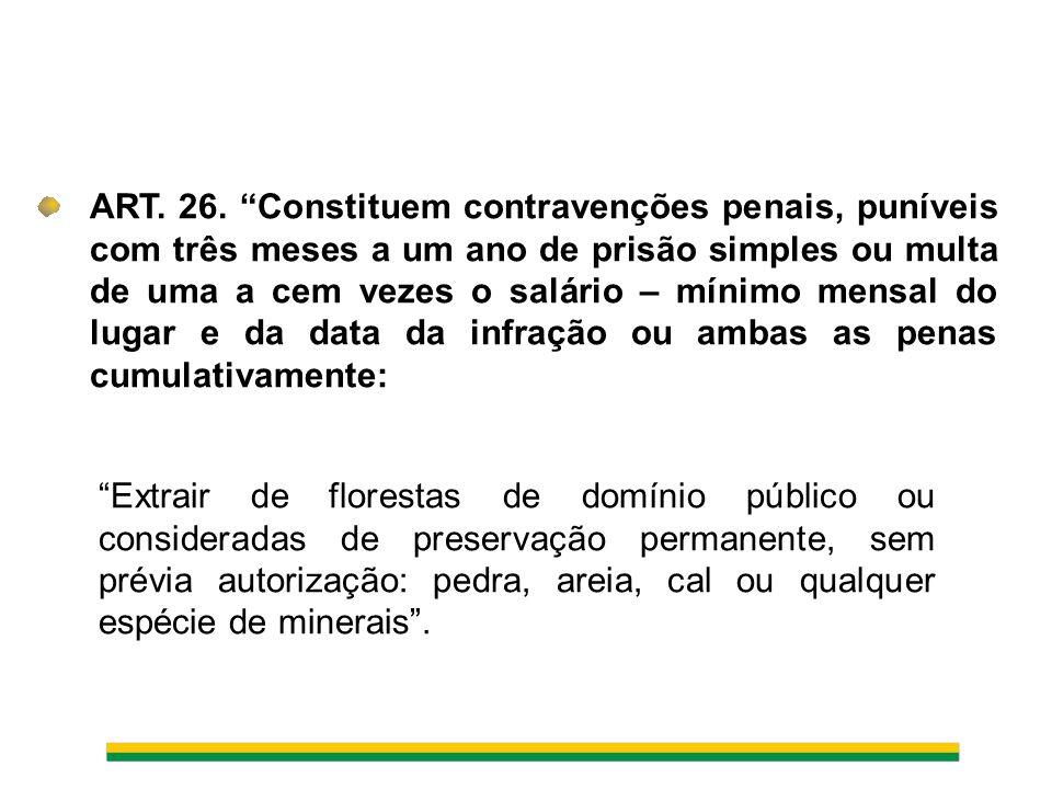 ART. 26. Constituem contravenções penais, puníveis com três meses a um ano de prisão simples ou multa de uma a cem vezes o salário – mínimo mensal do