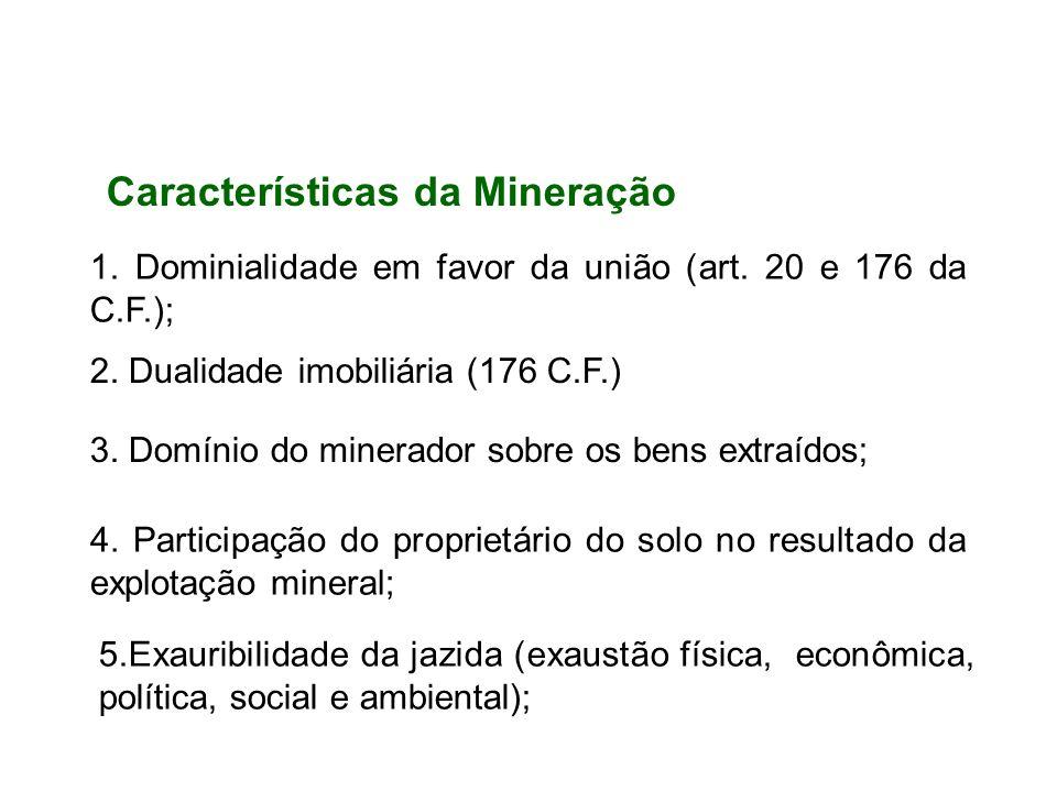 1. Dominialidade em favor da união (art. 20 e 176 da C.F.); 2. Dualidade imobiliária (176 C.F.) 3. Domínio do minerador sobre os bens extraídos; 4. Pa