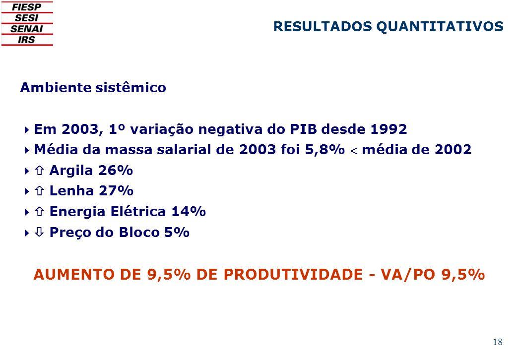 18 Ambiente sistêmico Em 2003, 1º variação negativa do PIB desde 1992 Média da massa salarial de 2003 foi 5,8% média de 2002 Argila 26% Lenha 27% Ener