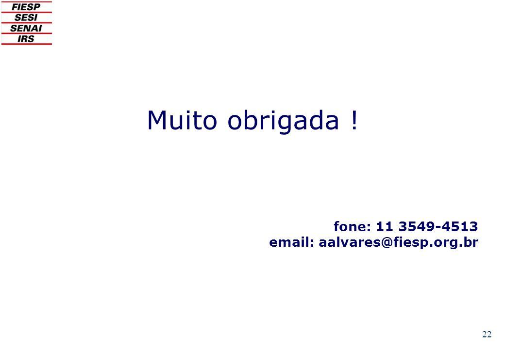 22 Muito obrigada ! fone: 11 3549-4513 email: aalvares@fiesp.org.br
