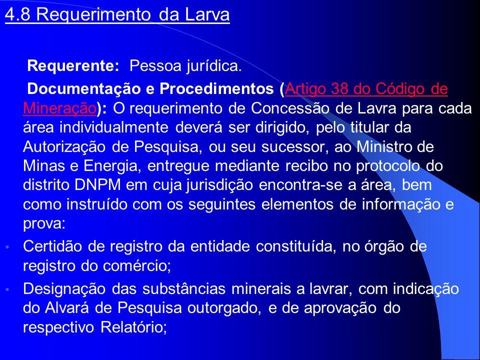 4.8 Requerimento da Larva Requerente: Pessoa jurídica. Documentação e Procedimentos (Artigo 38 do Código de Mineração): O requerimento de Concessão de