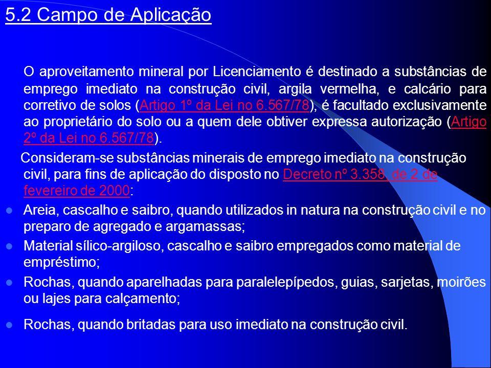 5.2 Campo de Aplicação O aproveitamento mineral por Licenciamento é destinado a substâncias de emprego imediato na construção civil, argila vermelha,