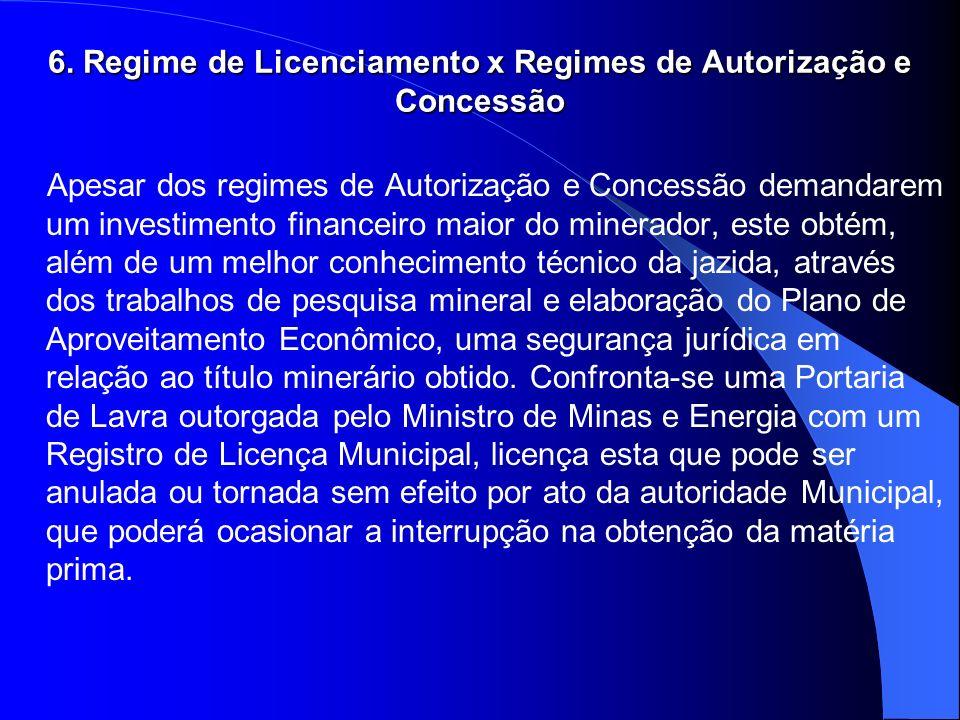 6. Regime de Licenciamento x Regimes de Autorização e Concessão Apesar dos regimes de Autorização e Concessão demandarem um investimento financeiro ma