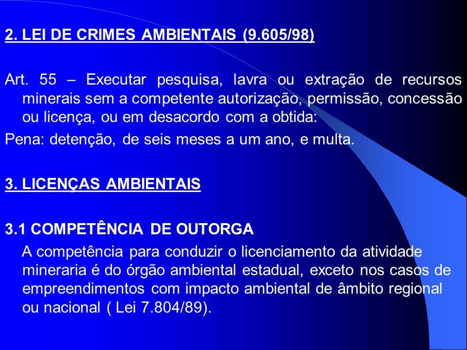 2. LEI DE CRIMES AMBIENTAIS (9.605/98) Art. 55 – Executar pesquisa, lavra ou extração de recursos minerais sem a competente autorização, permissão, co