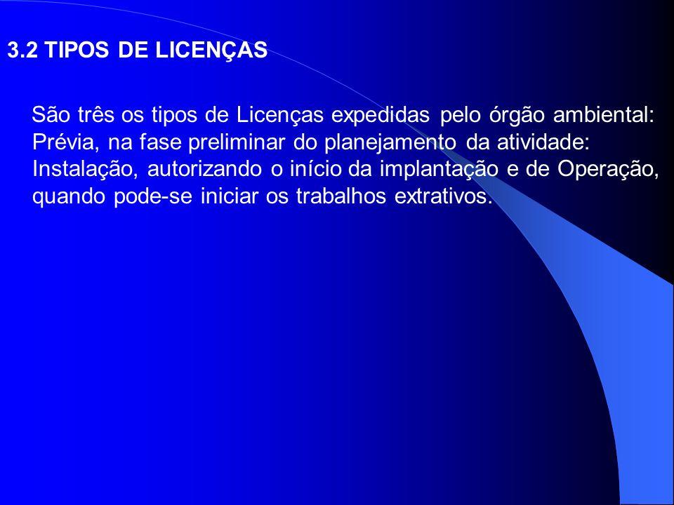 3.2 TIPOS DE LICENÇAS São três os tipos de Licenças expedidas pelo órgão ambiental: Prévia, na fase preliminar do planejamento da atividade: Instalaçã