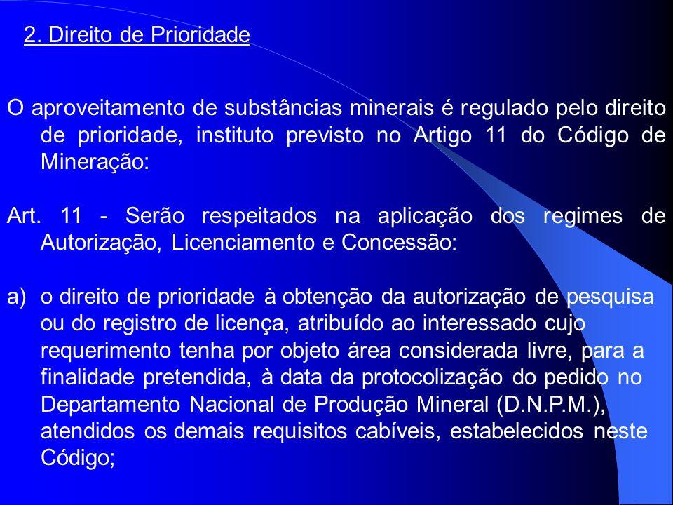 2. Direito de Prioridade O aproveitamento de substâncias minerais é regulado pelo direito de prioridade, instituto previsto no Artigo 11 do Código de