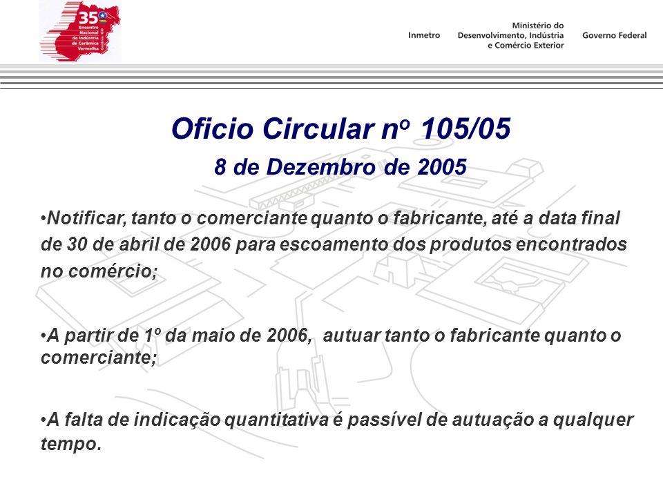 Oficio Circular n o 105/05 8 de Dezembro de 2005 Notificar, tanto o comerciante quanto o fabricante, até a data final de 30 de abril de 2006 para esco