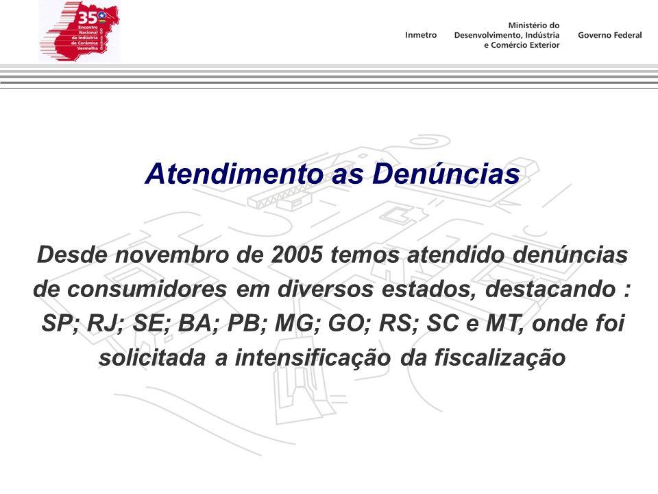 Atendimento as Denúncias Desde novembro de 2005 temos atendido denúncias de consumidores em diversos estados, destacando : SP; RJ; SE; BA; PB; MG; GO;