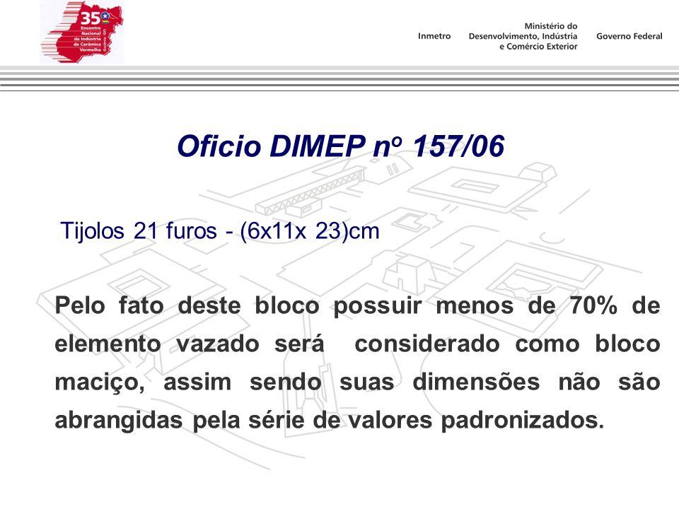 Oficio DIMEP n o 157/06. Tijolos 21 furos - (6x11x 23)cm Pelo fato deste bloco possuir menos de 70% de elemento vazado será considerado como bloco mac