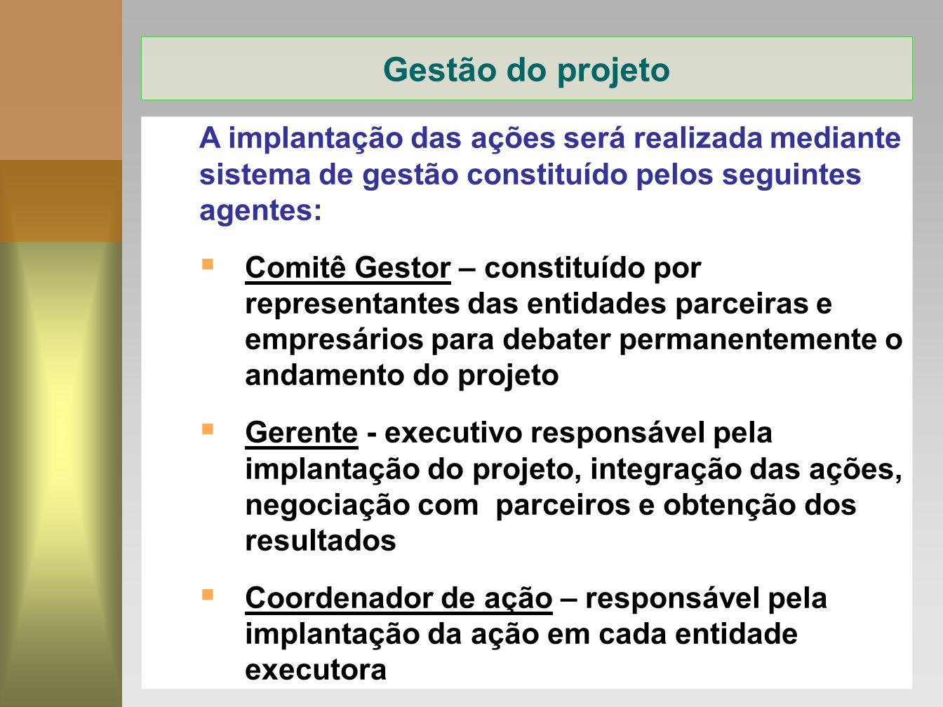 11 A implantação das ações será realizada mediante sistema de gestão constituído pelos seguintes agentes: Comitê Gestor – constituído por representant
