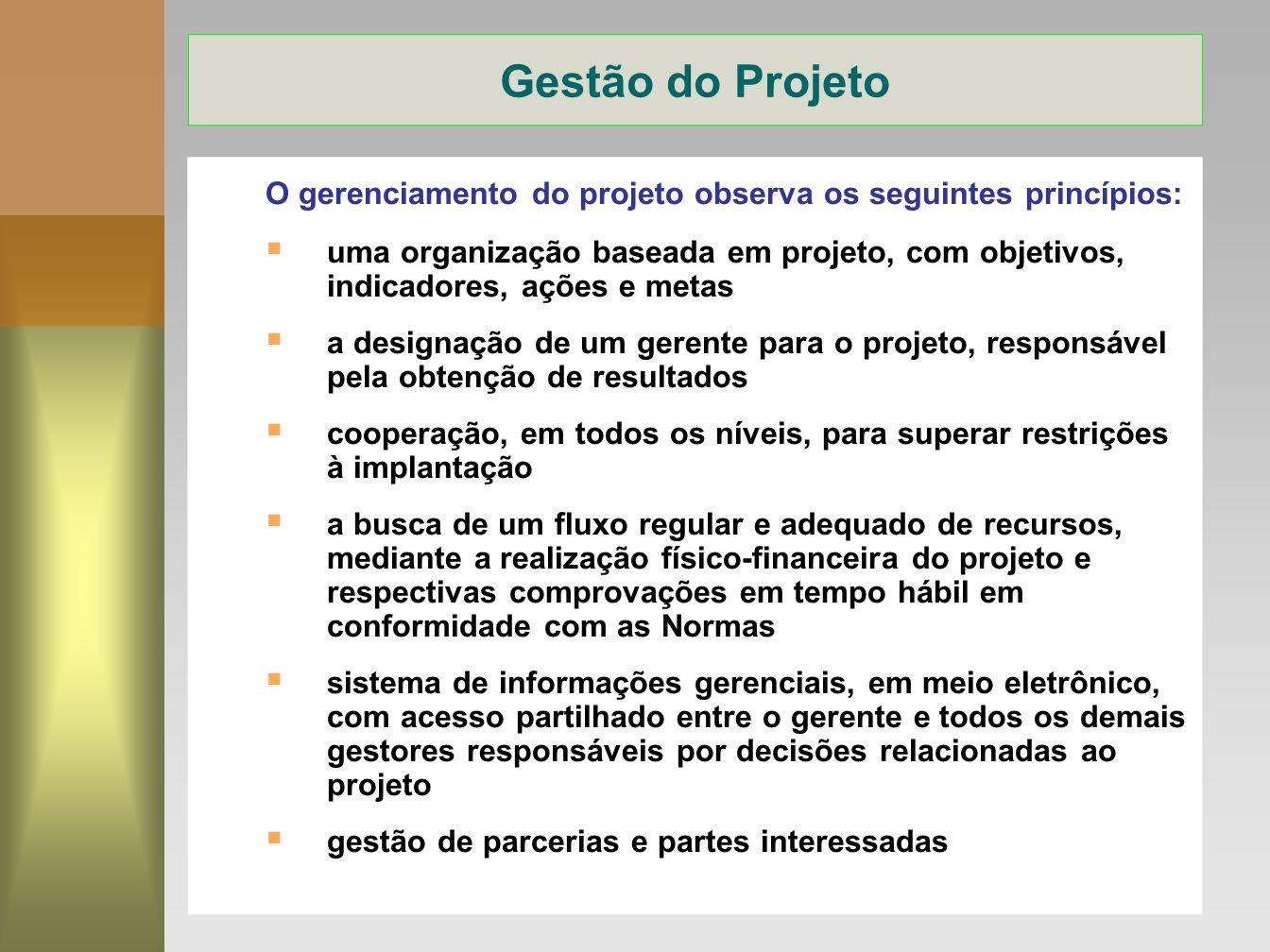12 O gerenciamento do projeto observa os seguintes princípios: uma organização baseada em projeto, com objetivos, indicadores, ações e metas a designa