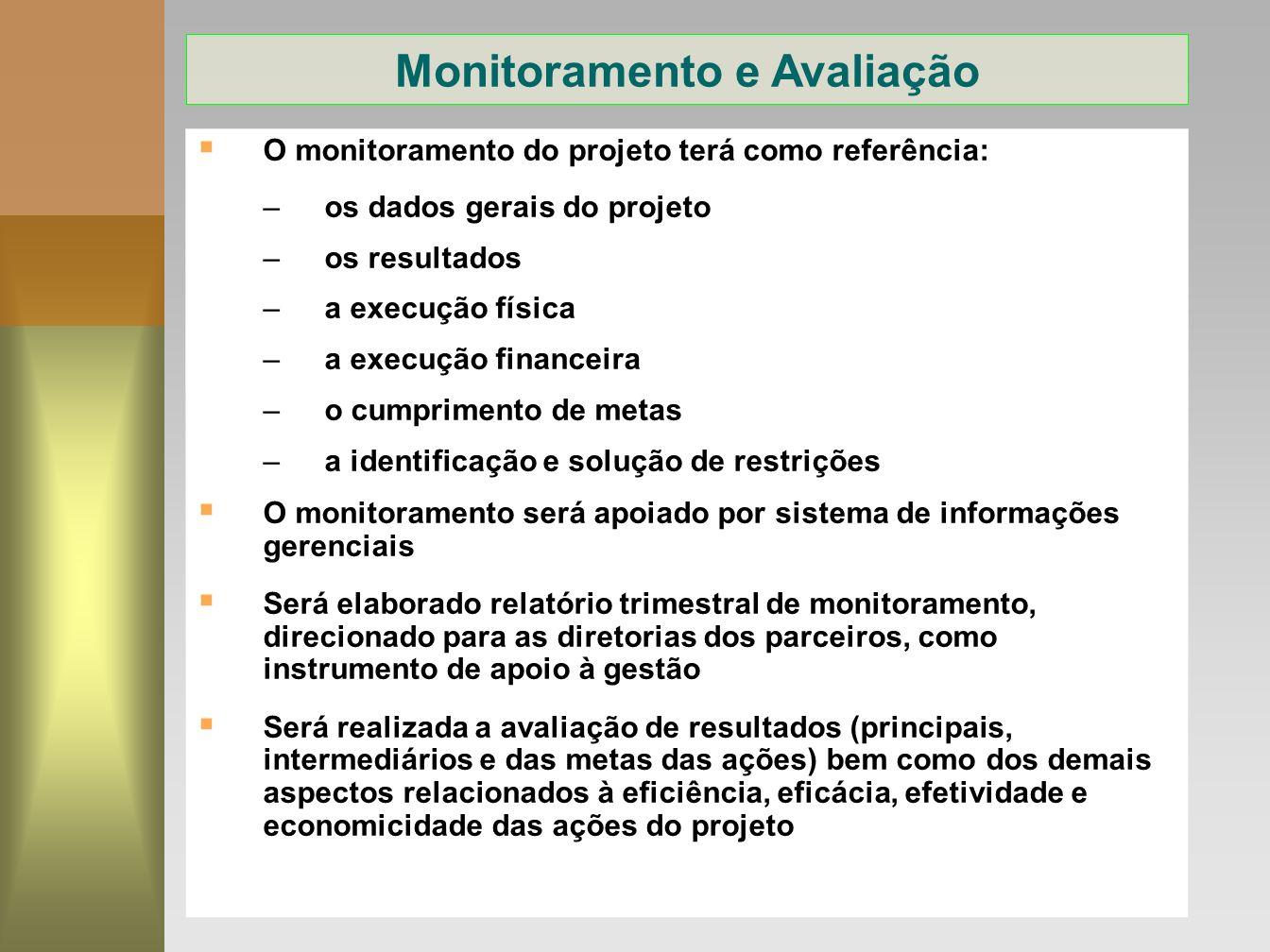 14 O monitoramento do projeto terá como referência: –os dados gerais do projeto –os resultados –a execução física –a execução financeira –o cumpriment