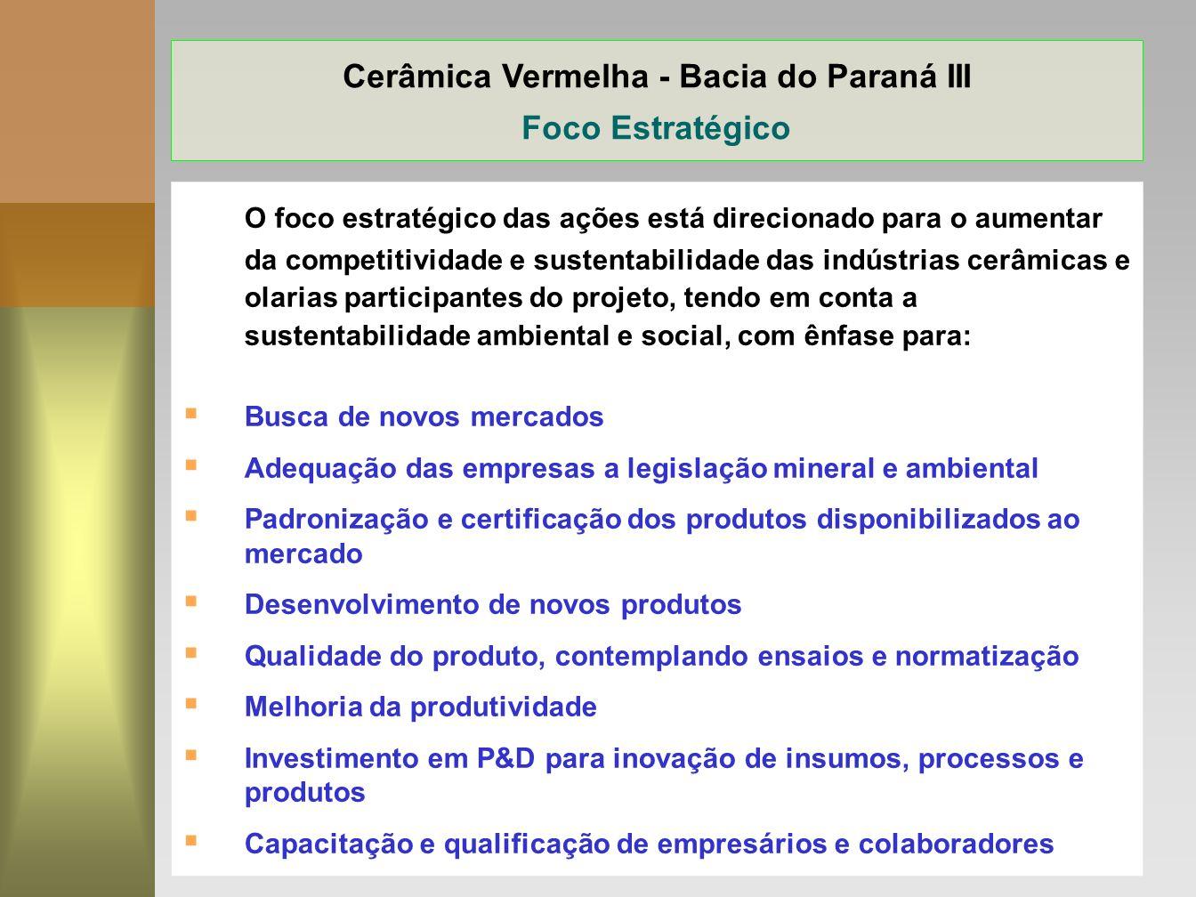15 Cerâmica Vermelha - Bacia do Paraná III Foco Estratégico O foco estratégico das ações está direcionado para o aumentar da competitividade e sustent