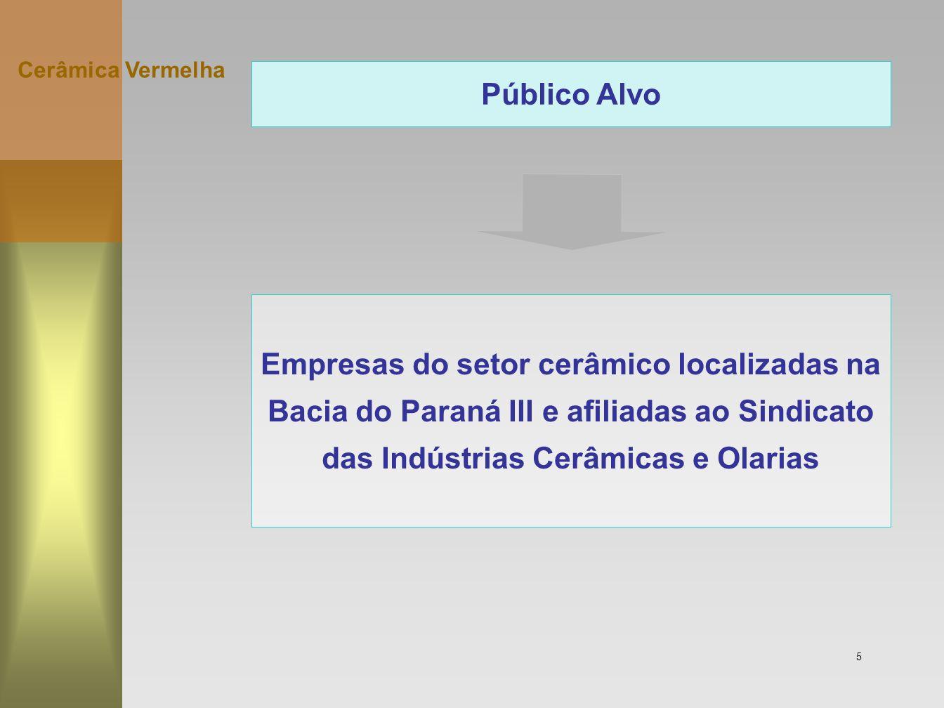 5 Público Alvo Empresas do setor cerâmico localizadas na Bacia do Paraná III e afiliadas ao Sindicato das Indústrias Cerâmicas e Olarias Cerâmica Verm