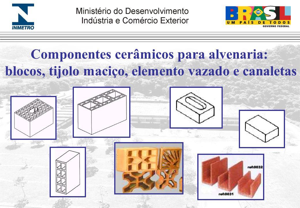 Componentes cerâmicos para alvenaria: blocos, tijolo maciço, elemento vazado e canaletas