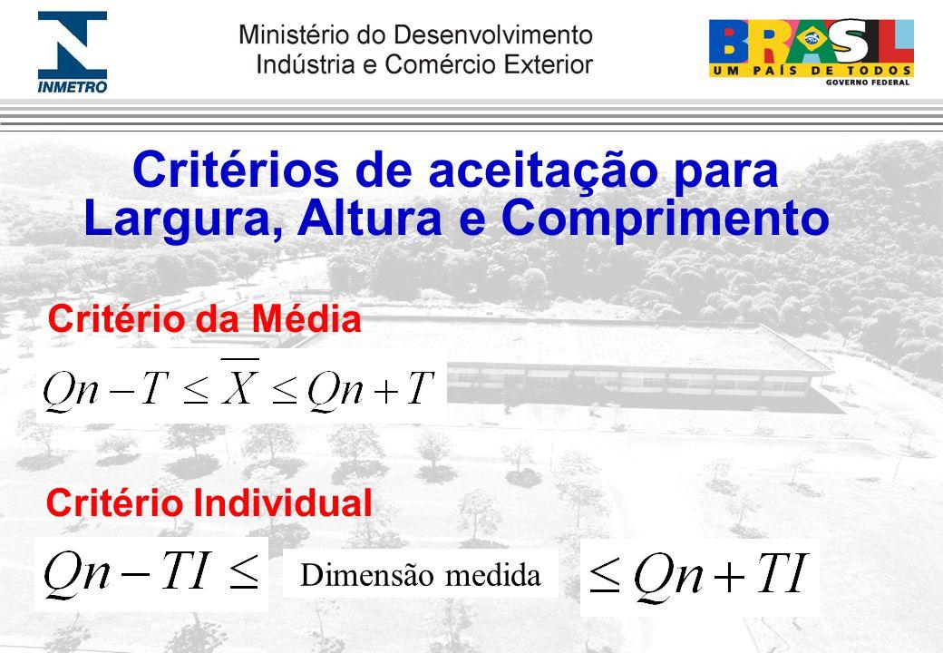 Critérios de aceitação para : Critério da Média Critério Individual Dimensão medida Largura, Altura e Comprimento