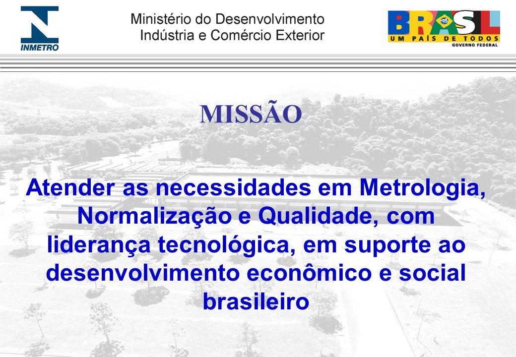 MISSÃO Atender as necessidades em Metrologia, Normalização e Qualidade, com liderança tecnológica, em suporte ao desenvolvimento econômico e social br