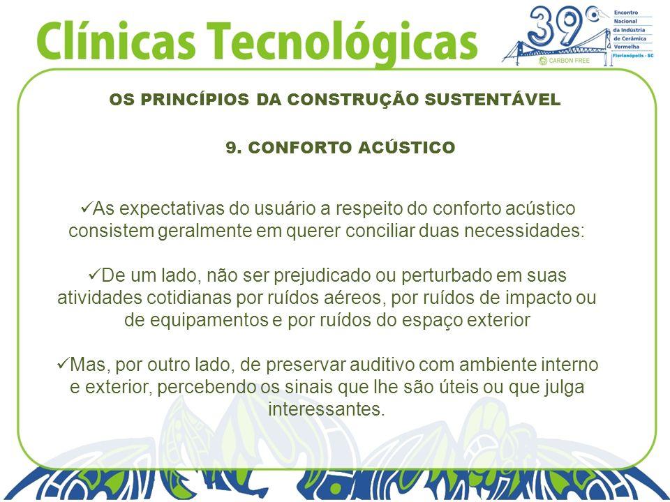 OS PRINCÍPIOS DA CONSTRUÇÃO SUSTENTÁVEL 9. CONFORTO ACÚSTICO As expectativas do usuário a respeito do conforto acústico consistem geralmente em querer