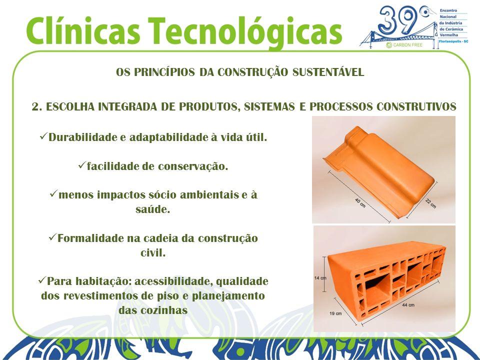 OS PRINCÍPIOS DA CONSTRUÇÃO SUSTENTÁVEL 2. ESCOLHA INTEGRADA DE PRODUTOS, SISTEMAS E PROCESSOS CONSTRUTIVOS Durabilidade e adaptabilidade à vida útil.