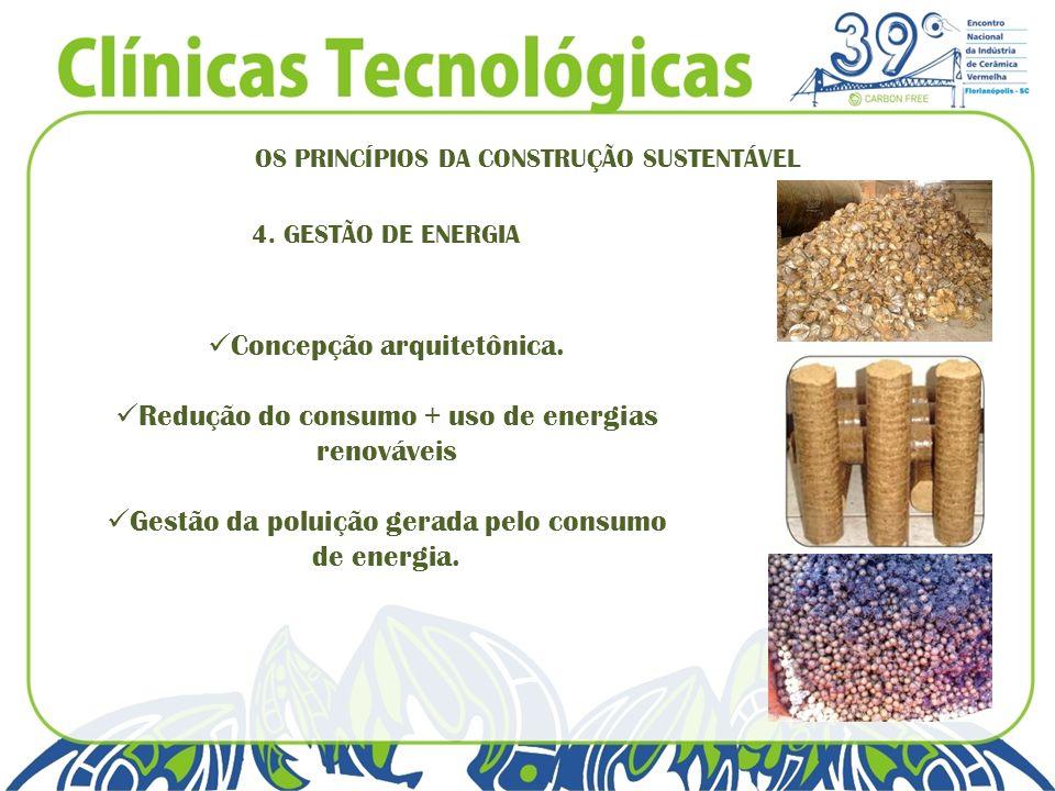 OS PRINCÍPIOS DA CONSTRUÇÃO SUSTENTÁVEL 4. GESTÃO DE ENERGIA Concepção arquitetônica. Redução do consumo + uso de energias renováveis Gestão da poluiç