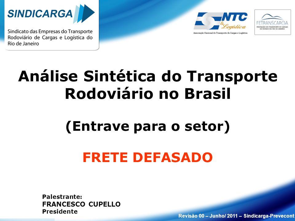 Revisão 00 – Junho/ 2011 – Sindicarga-Prevecont Palestrante: FRANCESCO CUPELLO Presidente Análise Sintética do Transporte Rodoviário no Brasil (Entrave para o setor) FRETE DEFASADO