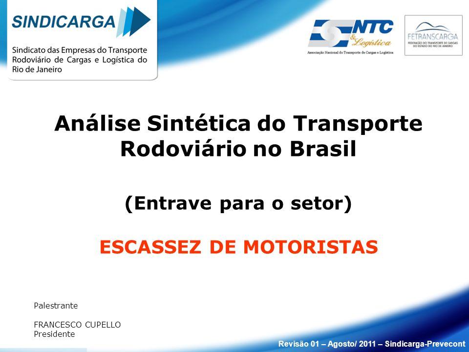 Análise Sintética do Transporte Rodoviário no Brasil (Entrave para o setor) ESCASSEZ DE MOTORISTAS Palestrante FRANCESCO CUPELLO Presidente Revisão 01
