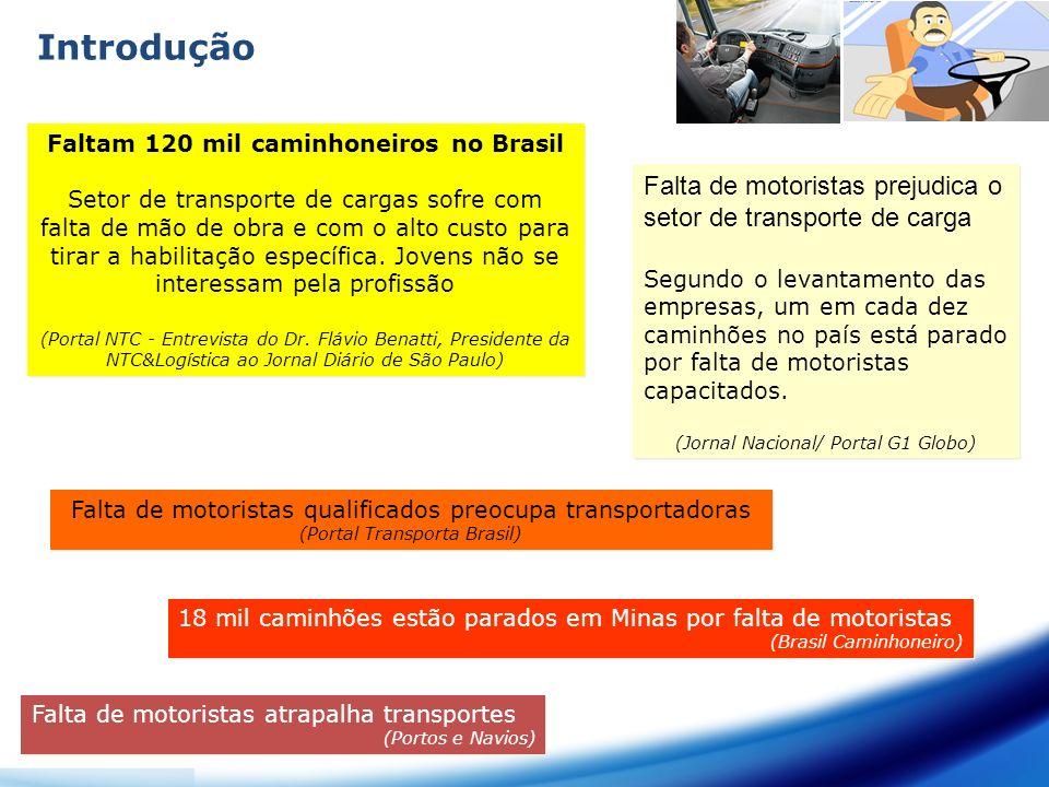 Introdução Faltam 120 mil caminhoneiros no Brasil Setor de transporte de cargas sofre com falta de mão de obra e com o alto custo para tirar a habilit